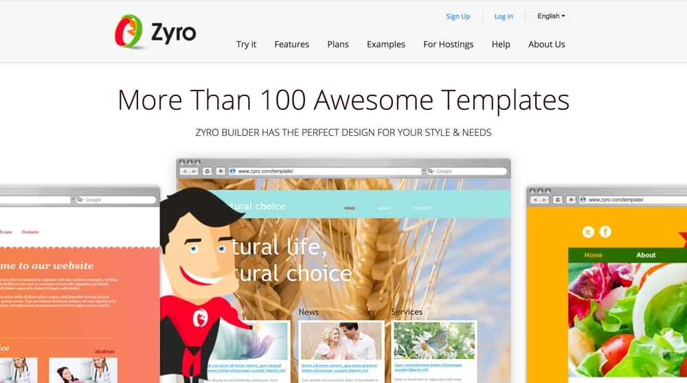 Screenshot homepage situs web builder Zyro